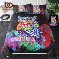 BeddingOutlet Owl Bedding Set Colorful Bird Feather Bed Set Perched Owl Duvet Cover 3 Pieces Watercolor Comforter Cover Queen