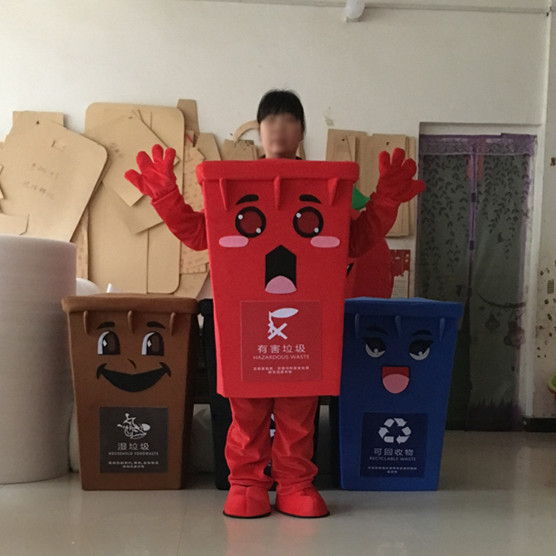 Green Recycle Trash Can Mascot Costume Adult Size Waste Ash Bin Garbage Can Anime Costumes Advertising Mascotte Fancy Dress