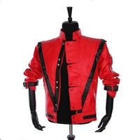 Classic MJ Collection1:1 Bomber Jacket Men,Classic MICHAEL JACKSON Costume Thriller Red Jacket Brand Clothing For Fans