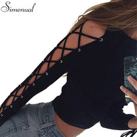 Lace Up Long Sleeve T Shirt Women Autumn Crop Top Sexy Slim Solid Black Fashion Short
