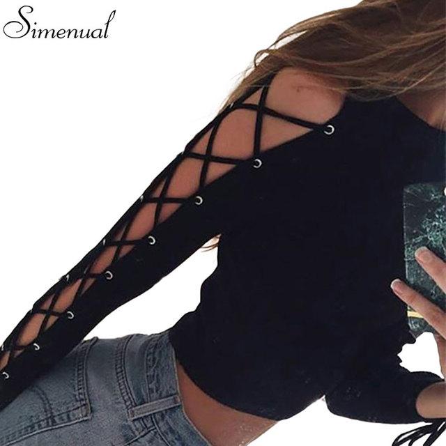 Lace up manga larga t shirt mujer otoño crop top sexy delgado solid negro cortocircuito de la manera camisetas venta caliente mujer tapas de la camiseta tees