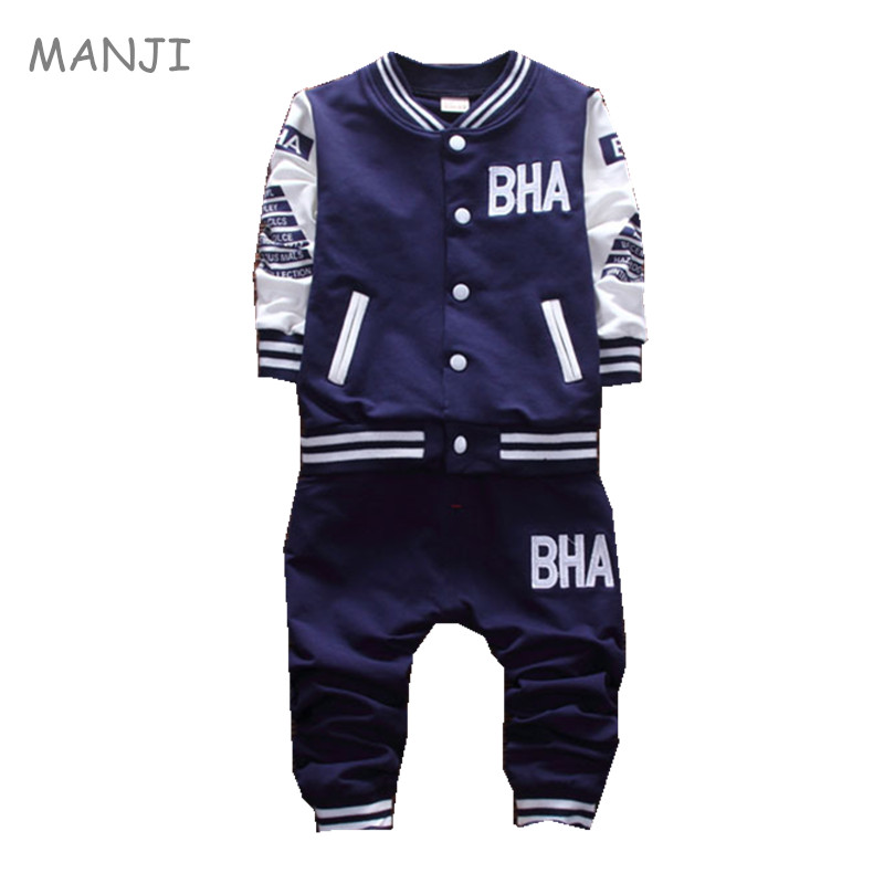 MANJI Boys Clothes Set 2017 Autumn New Fashion Style Children Clothing Cotton Jacket With Casual Pants baby boys clothes A073