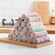 Super Absorbent Microfiber Kitchen Dish Cloth High-efficiency Lint-Free Oil-Free Tableware Household Tools Cleaning Duster Towel цена и фото