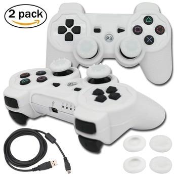 Blueloong 2 pièces blanc et blanc couleur sans fil Bluetooth manette de jeu pour Playstation 3 PS3 contrôleur + livraison gratuite