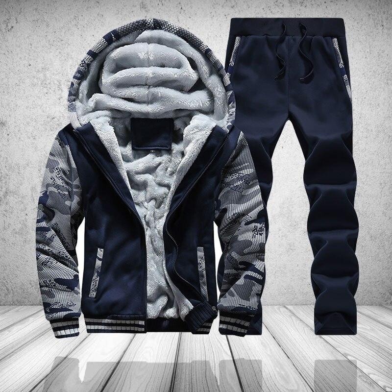 3893f9a9 Купить Меховая флисовая Мужская камуфляжная зимняя брендовая теплая  толстовка с капюшоном 2018 куртка кардиган спортивный костюм мужской 2 шт.  курт.