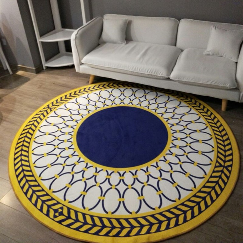 Modern Fashion Geometric Carpet Sitting Room Bedroom Mat Study Computer Chair Round Rug