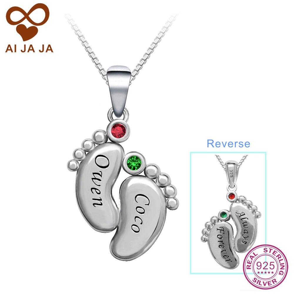 AIJAJA Personalized Birthstones Names Necklaces Pendants