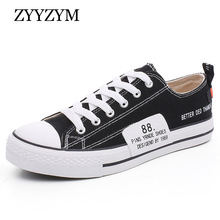 ZYYZYM Men Canvas Shoes Lace-up Style Spring And Autumn Flat With Fashion Trend Student Vulcanized Shoes