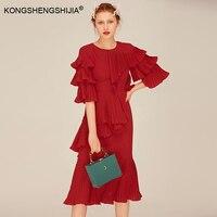 خمر الكشكشة مصمم النساء اللباس 2017 مطوي ملابس الخريف جديد الموضة حزب السيدات الأوكرانى الأحمر فساتين طويلة الشيفون