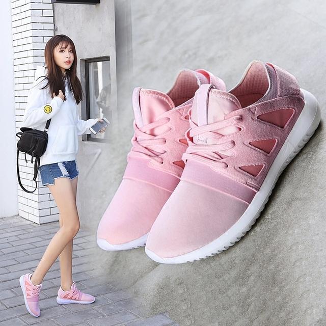 2017 Nuevas mujeres de la Llegada Tejido Elástico Casual Zapatos de Lona de La Moda Unisex Zapatos de la Muchacha para la Primavera Tamaño 35 ~ 41