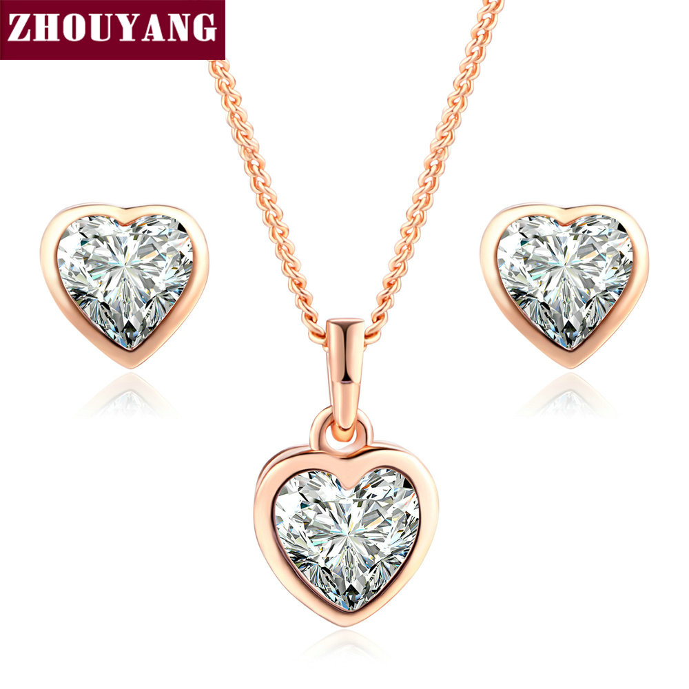 Top Quality Heart Crystal Rose Gold & Silver Color Jewelry Necklace Earring Sets Made with Austrian CrystalsZYS281 ZYS321 yoursfs love you forever white gold plated heart in circle pendant necklace with austrian crystal open heart silver necklace wo