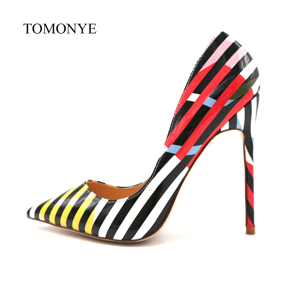 2019 new designer white black stripe with yellow pink circle patent leather pointed toe 12cm high