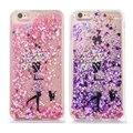 Para el caso iphone 7 lado transparente dura de la pc + tpu suave líquido dinámico glitter amor arena cubierta de la caja para apple iphone 6 plus