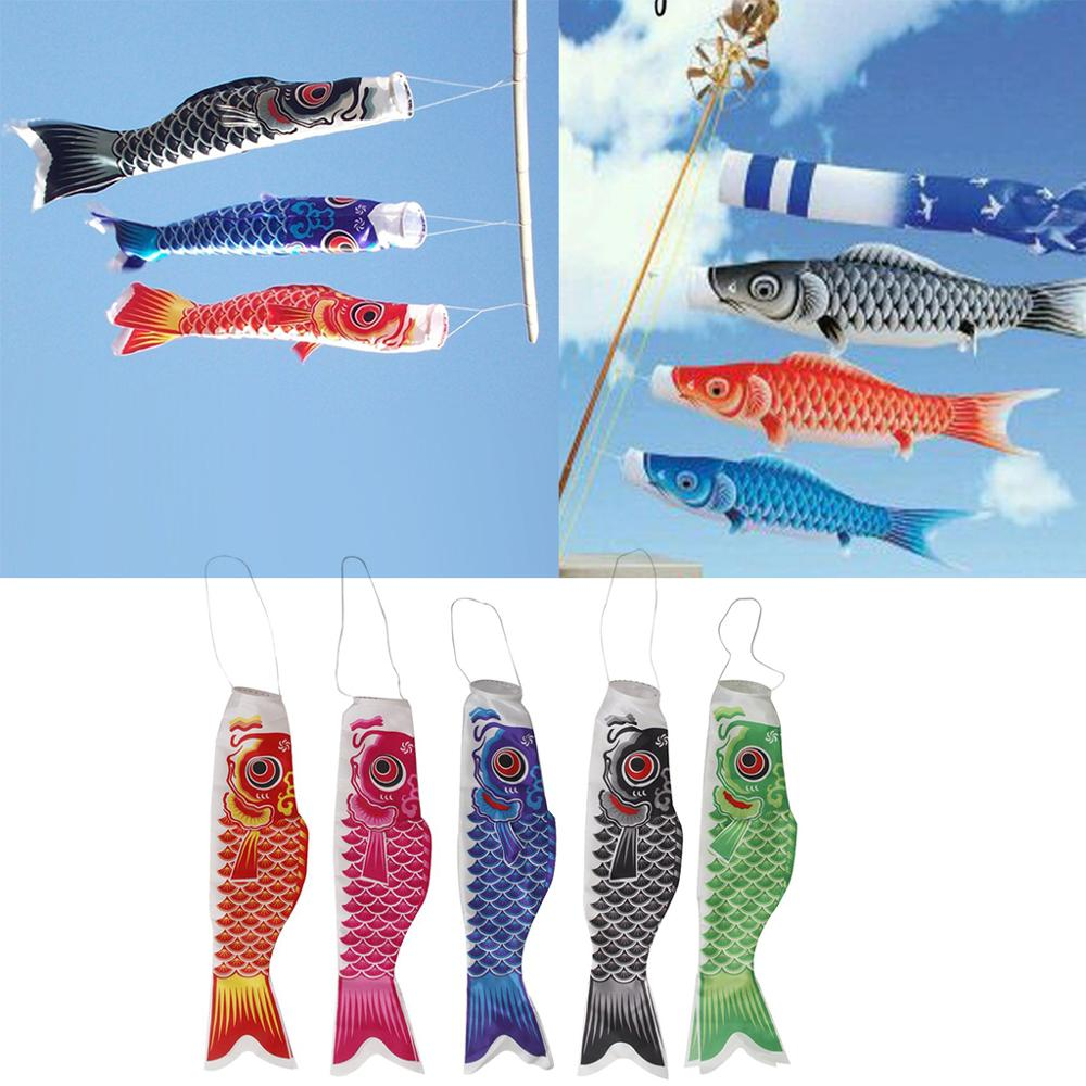 Satin Traditional Japanese Windsock Carp Flag Koi Nobori Sailfish Fish Wind Streamer for Home Party Garden Decorations, 5 Colors