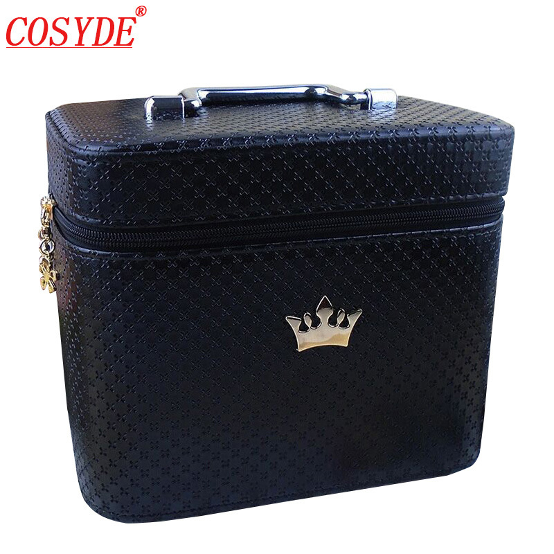 Women Crown Large Capacity Professional Makeup Organizer Portable profession Cosmetic bag Beauty Brush Storage Wash Toiletries travel beauticians professional cosmetic makeup bag large capacity beauty organizer women portable makeup storage box neceser