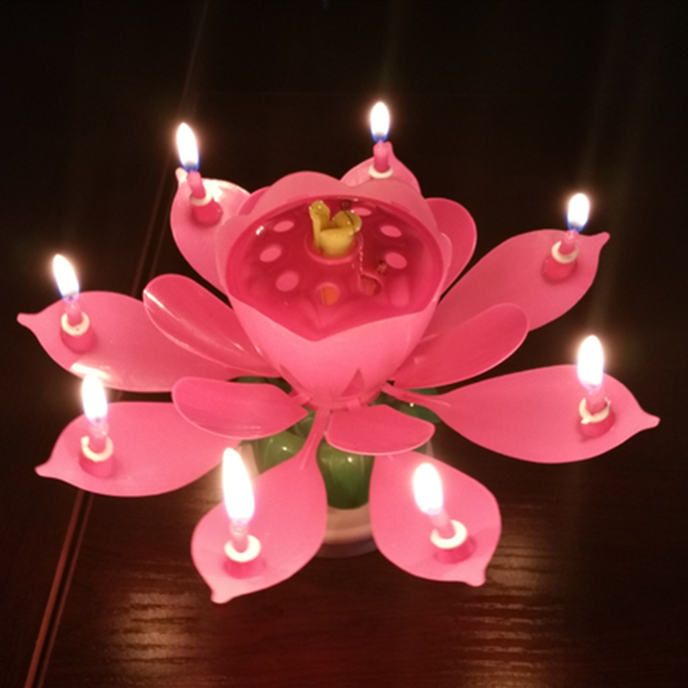 Candle Light Musical Lotus Romantic Flower Rotating Happy Birthday