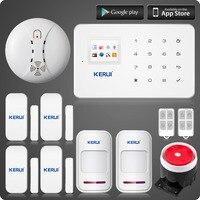 אזעקת GSM מערכת בקרת אזורים אלחוטיים KERUI G18 עם תנועת PIR מערכת אזעקת בית תצוגת TFT צבע מסך מגע Senson