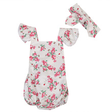 Baby Girls Romper 2017 Summer Floral Printed Romper for Baby Girls Romper Short Sleeve Cotton Outfit Clothes With Headwear 0-24M