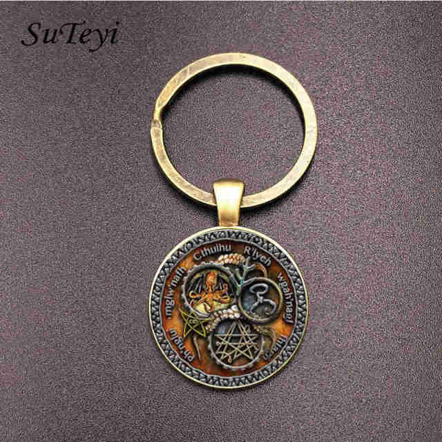 SUTEYI Vintage Cthulhu Key Chains Steam Punk R lyeh Pattern Letter Glasss  Dome Pendant Key Holder Men Women Bronze Jewelry 052984e6f