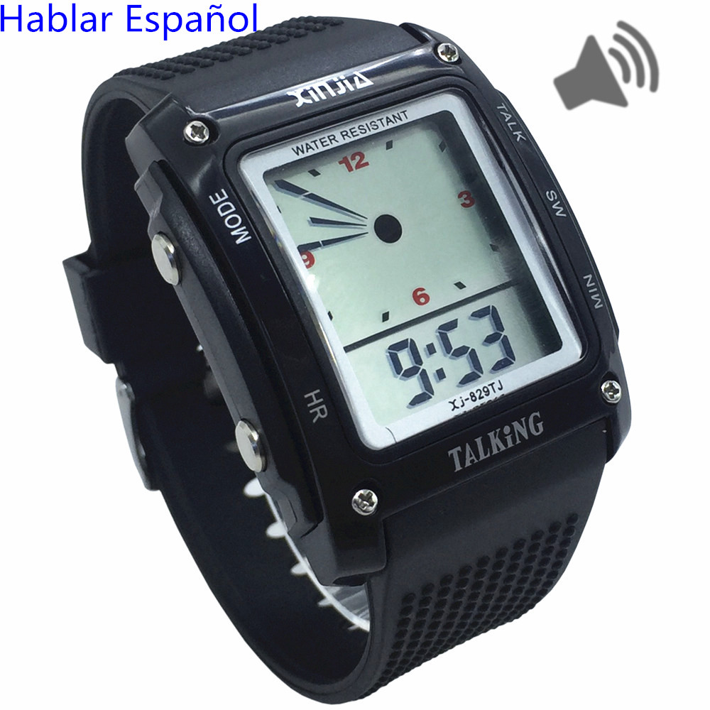 Rectangle Dial,Spanish Talking Watch For The Blind And Elderly Electronic Sports Wristwatches 829TS-BLK
