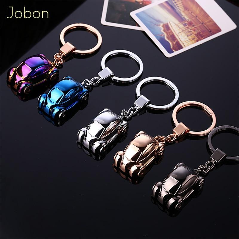 Jobon Men Women Key Chain Metal Zinc Alloy Keychains LED Lighting Car Key Holder High Quality Bag Pendant Best Gift Jewelry