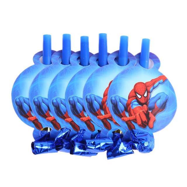 6 pçs/lote Apito Blowout tema do Desenho Animado Do Homem Aranha Fabricante Do Ruído Do Partido Do chuveiro Do Bebê Crianças Crianças Festa de Aniversário decoração Brinquedos Engraçados