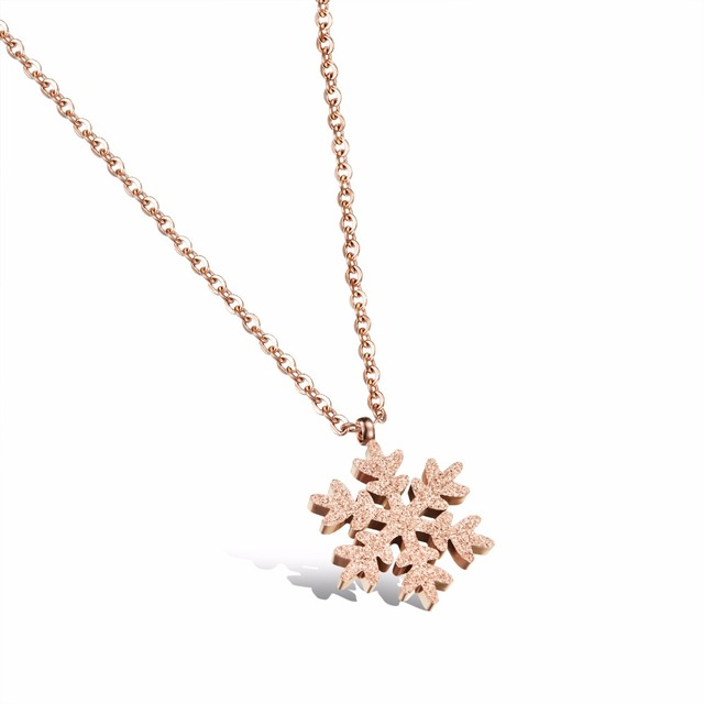 Never Tarnish Cute Snow Flake Pendant Necklace Jewelry Women Rose