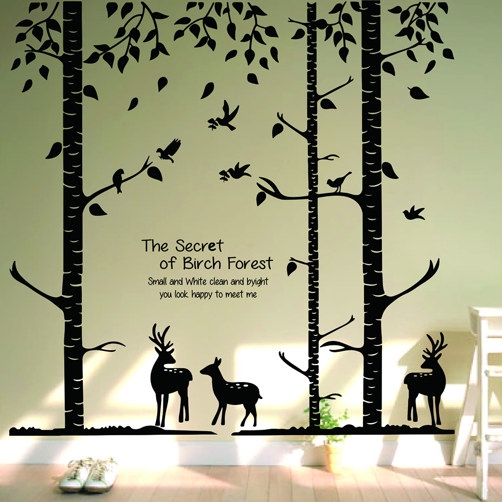 Large Forest Landscape Wall Sticker Living Room Bedroom Deer Tree Bird Animal Wall Decal Kids Room Vinyl Home Decor Mural Art