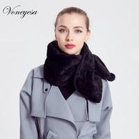 Voneyes Winter Effen Konijn Bontkraag Hoge Kwaliteit Vrouwen Faux Bont Sjaals & Wraps Vrouwelijke Mode Herfst Warm Zwart Sjaal ROM2507