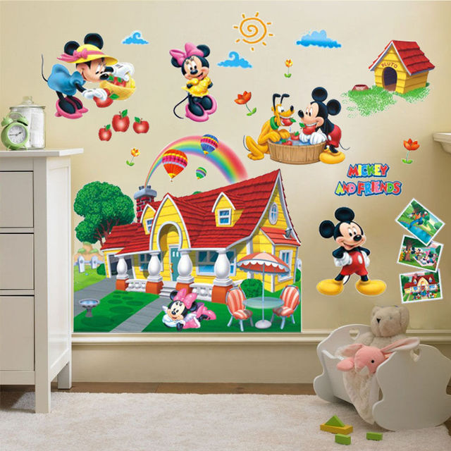 2017 Hot Sale Cartoon Kids Colorful Mickey Mouse Clubhouse Wall Sticker  Mural Decal Kids Baby Room