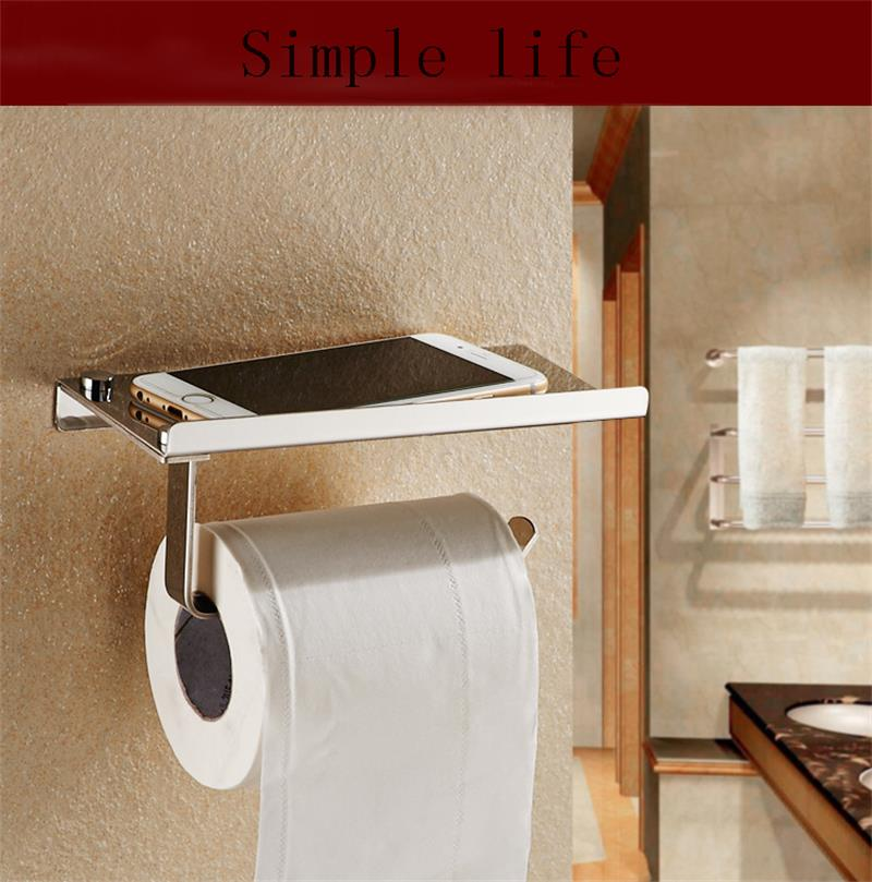 304 Stainless Steel Bathroom Paper towel holder Phone Holder with Shelf Towel Rack Toilet Paper Holder Tissue Boxes free shipping 304 stainless steel towel shelf towel bar towel rack bathroom rack hanging toilet bathroom shelf makeup shelf rack