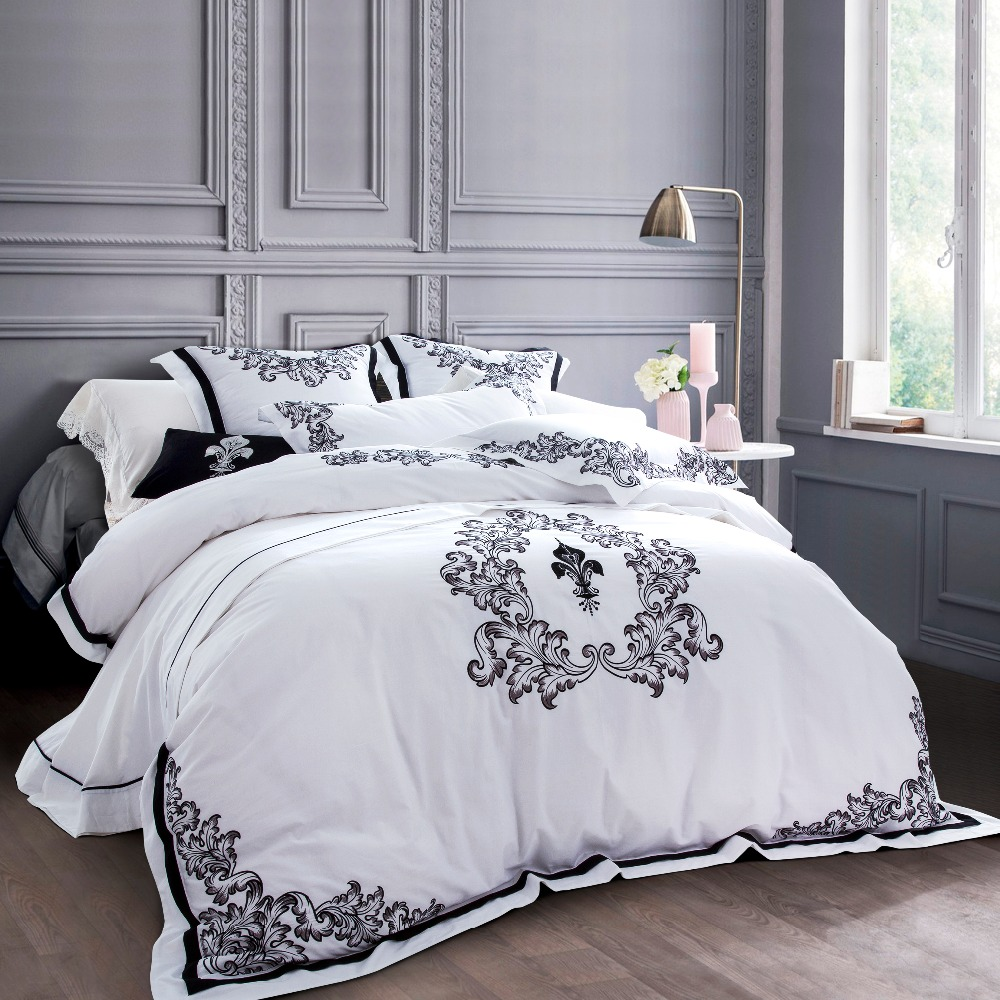 100 Egyptian Cotton 60s Sateen Fabric Luxury White Hotel Bedsheets With Embroidery European