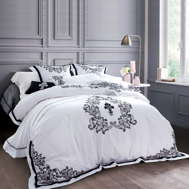 100 Egyptian Cotton 60s Sa Fabric Luxury White Hotel Bedsheets With Embroidery European Style Bedding Sets Queen King Size