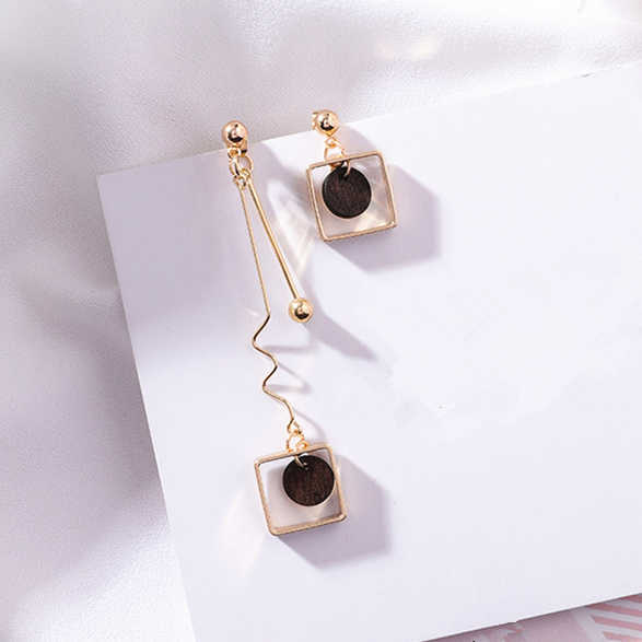 2018 Asymmetry AB Style Wave Chain Geometric Earrings Alloy Square Wooden Wafer Pendientes Mujer Vintage Drop Earrings