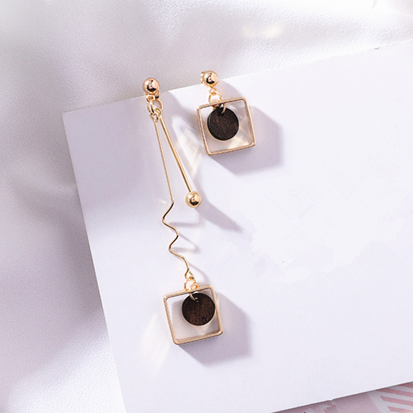 2018 Asymmetry AB Style Wave Chain Geometric Earrings Alloy Square Wooden Wafer