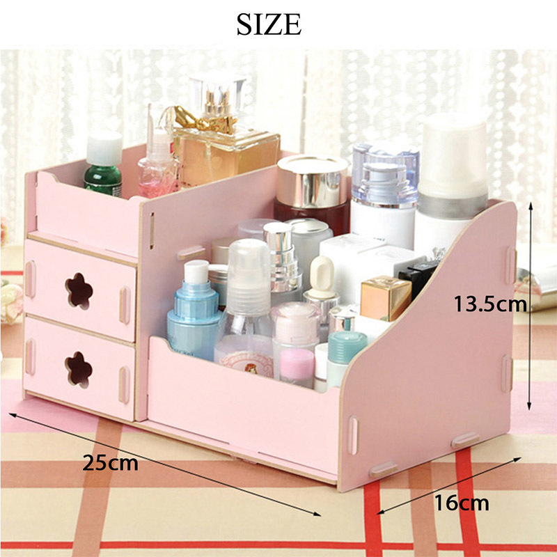 DIY Makeup Box Wooden Cosmetic Storage Box Jewelry Container Multi functional Sorting Box Use at Bedroom Bathroom makeup organizer box