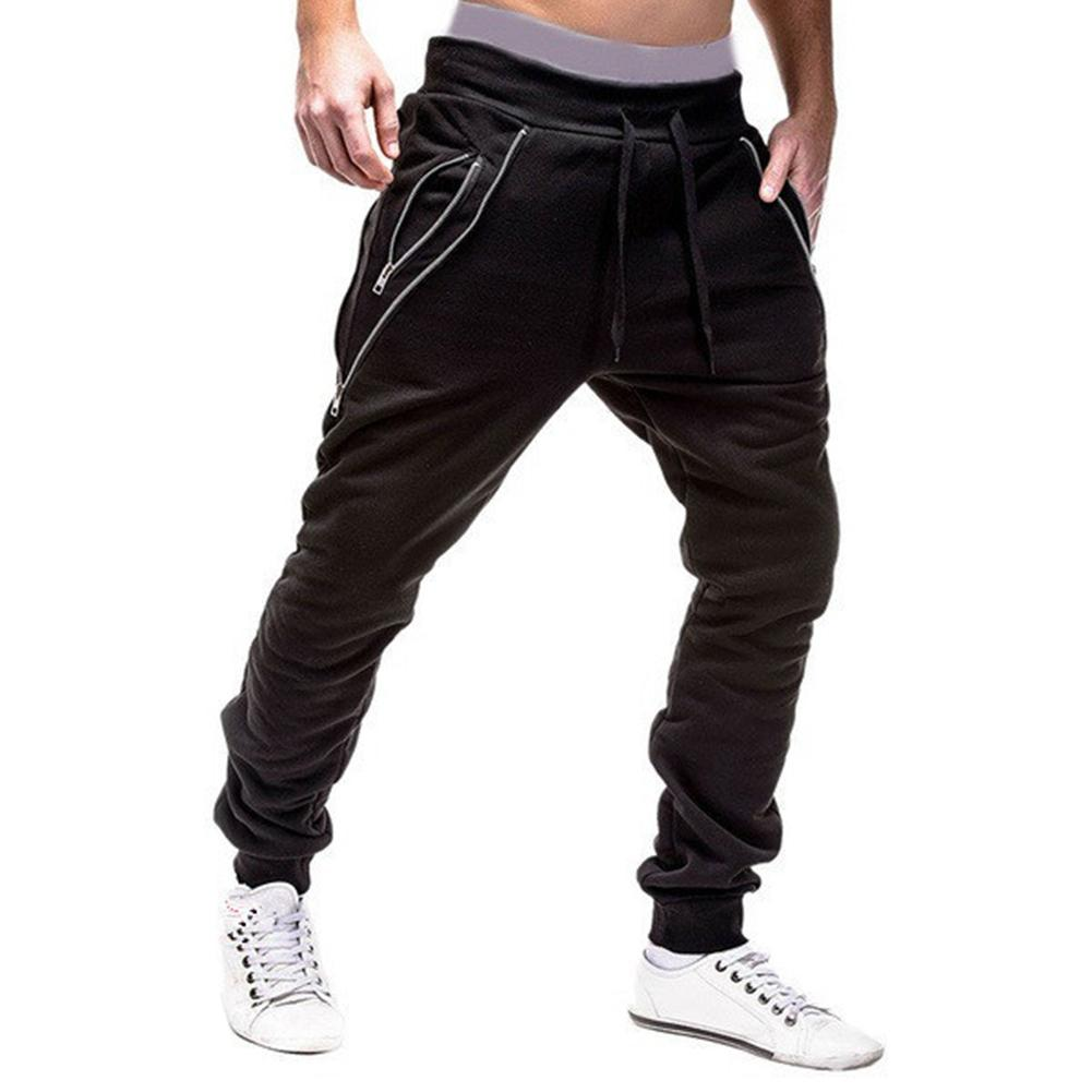 Men Autumn Trousers Elastic Drawstring Slim Casual Pockets Jogging Haren Pants