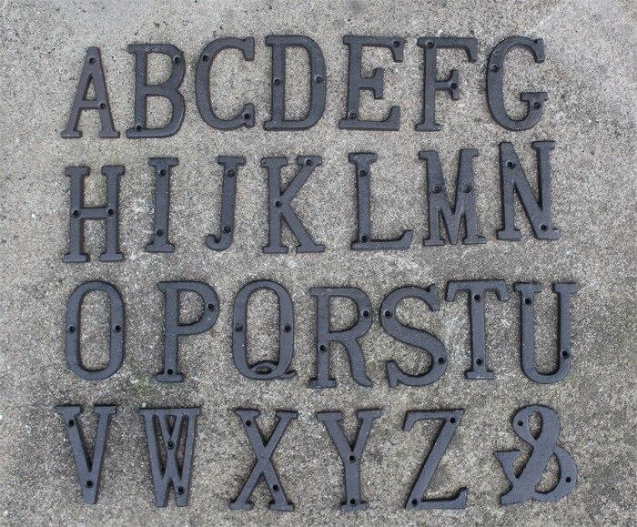 40 pieces rustic iron metal letter alphabet a z 0 9 antique cast iron house