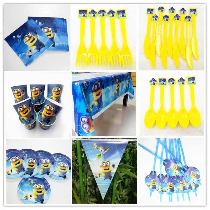 Decorações Da Festa de Aniversário Do Partido Dos Miúdos asseclas Talheres Prato de Doces Caixa de Pipoca Bandeira Bandeiras Fontes do Partido do Chuveiro Do Bebê