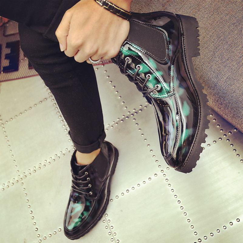 7fb22e3f8 Terno Stylist Hair Sapatos Retro Pequeno Martin Botas Um Homens Pedal black  Mid Green Salto Cintura De ...