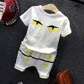 2016 Crianças Define T Camisa Dos Desenhos Animados little monsters Branco Shorts 2 Peças Meninas Roupas Casuais Define Meninos Conjuntos de Roupas de Verão