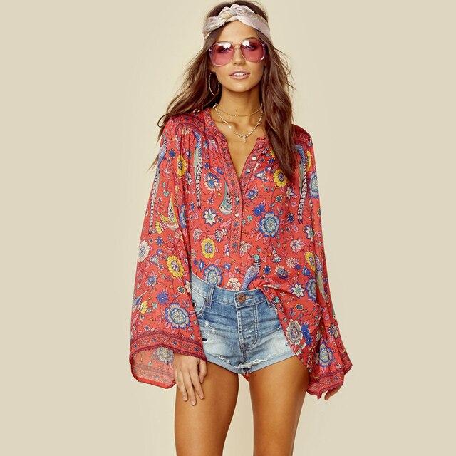 TEELYNN RED Boho blouse 2018 spring birds floral print blouses Vinatge o-Neck flare long Sleeve Bohemia women blouses Hippie TOP