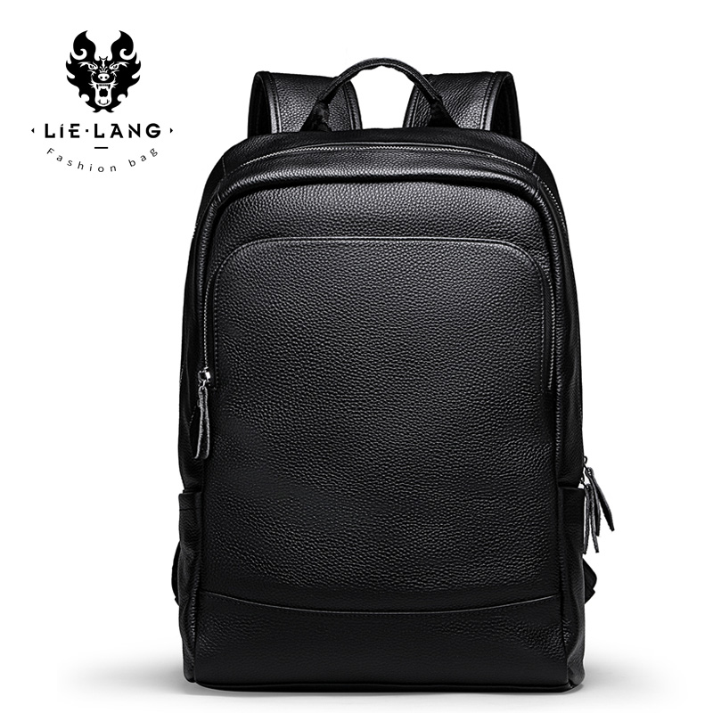LIELANG Men's Backpack Simple High Quality Leather Backpack Male Leather Fashion Trend Youth Leisure Travel Computer Bag image