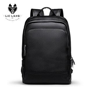 Image 1 - Leilang mochila masculina de couro, mochila masculina simples de alta qualidade feita em couro, ideal para viagens, lazer, computadores