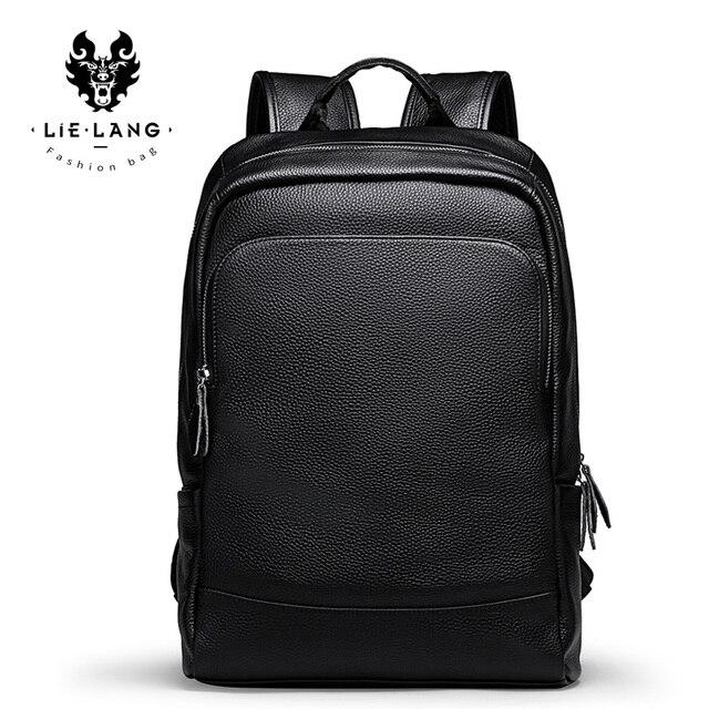 Leilang mochila masculina de couro, mochila masculina simples de alta qualidade feita em couro, ideal para viagens, lazer, computadores