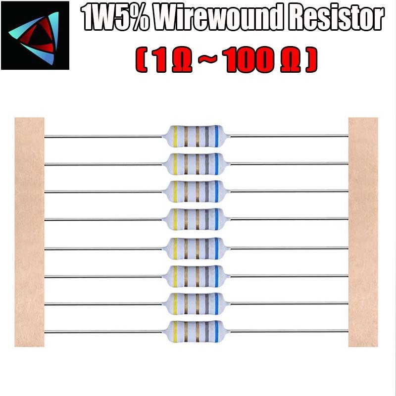 20pcs 1W 5%  Wirewound Resistor +-5%  1E 1.5E 0.1E 4.7E 3.3E 10E 100E 47E 2.2E 5.1E 22E Ohm