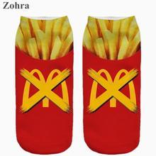 Fast food delicious Graphic 3D Full Print Women's Men Girls Low Cut Ankle Socks Cotton sock Hosiery Women's cotton Socks