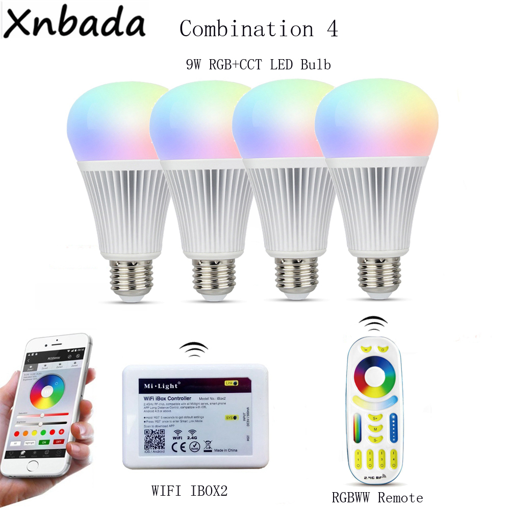 Milight Led Bulb Lamp E27 9W RGB+CCT,2.4G RGBWW Remote Led Controller,Wireless WIFI Ibox2 By APP IOS Android