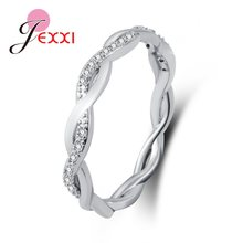 New Arrival Elegant Pure 925 Sterling Silver Special Beautiful Winding Shinning Rhinestone Fine Rings Good Girls/Women(China)