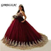 Burgundy Quinceanera Dresses 2019 Long Prom Party Tulle Gold Appliques Ball Gown for Sweet 16 vestidos de 15 anos